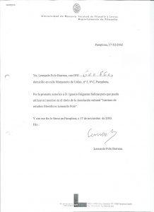 Autorización para uso del nombre de D. Leonardo Polo